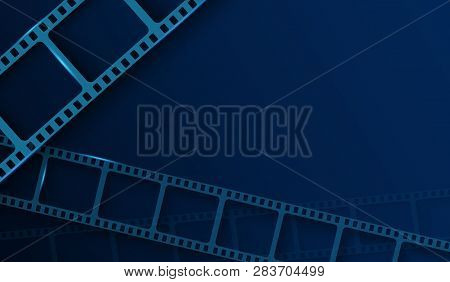 Background With Film Strip Frame Isolated On Blue Background. Design Template Cinema With Space For