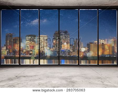 Empty Modern Interior Space With City View At Night And Starry Sky, Empty Business Office Interior