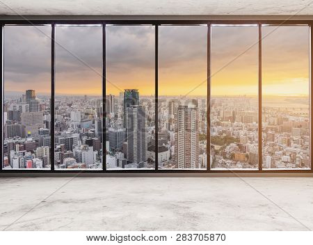 Empty Modern Interior Space With Skyscraper City View In Sunset, Empty Business Office Interior