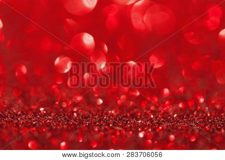 Shining Red Glitter. Christmas And Romantic Background