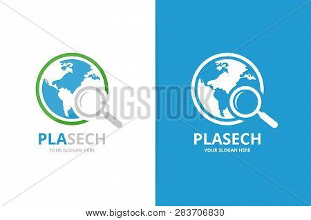 Vector World And Loupe Logo Combination. Unique Globe And Search Logotype Design Template.