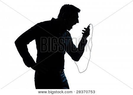 one caucasian man  telephone videophone  portrait silhouette in studio isolated white background