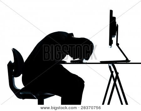 one caucasian business man computer computing sleeping tired silhouette in studio isolated on white background