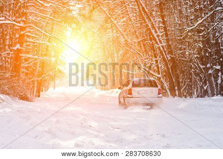 Scenic Veiw Of Empty Road With Snow Covered Landscape While Snowing In Winter Season. Nature