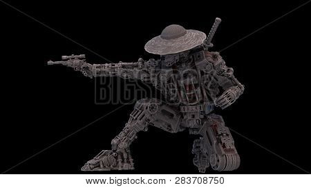 Sci-fi Mech Soldier On A Black Background. Military Futuristic Robot Warrior With Scetch And Toon Co
