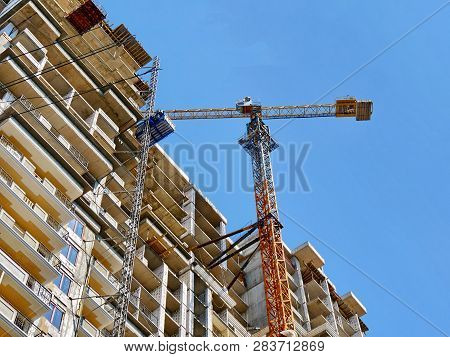 Construction Site With Crane And Building. Skyline Construction. Skyscraper Construction.