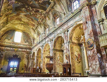 Bergamo, Italy - January 4, 2019. Nave Of The Chiesa Saints Bartolomeo And Stefano Dominican Church.
