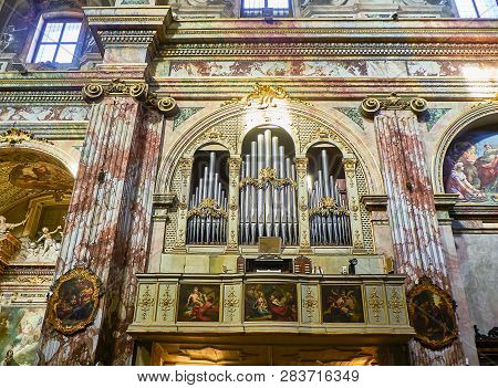 Bergamo, Italy - January 4, 2019. Pipe Organ Of The Chiesa Saints Bartolomeo And Stefano Dominican C
