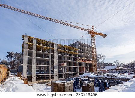 Metal Products For Monolithic Housing Construction. Construction Site, Construction Of Houses