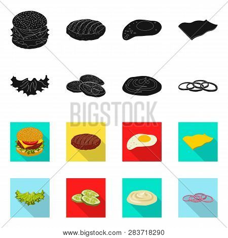 Isolated Object Of Burger And Sandwich Sign. Collection Of Burger And Slice Stock Symbol For Web.