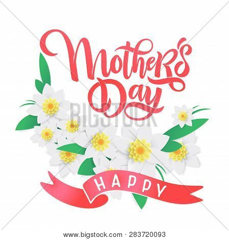Vector Mother's Day Springtime Greeting Card, Festive Calligraphy Lettering, Spring Red And Pink Blo