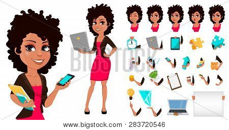Young African American Business Woman In Casual Clothes. Pack Of Body Parts, Emotions And Things. Ca