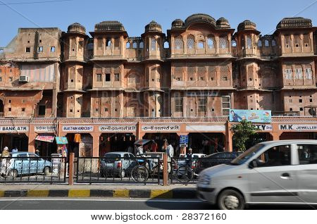 Streets of Indra Bazar in Jaipur, Rajasthan, in India