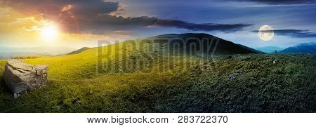 Day And Night Time Change Concept Above Panorama Of Grassy Hill With Rock. Beautiful Summer Landscap