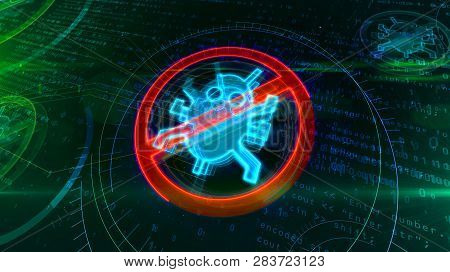 Antivirus Symbol On Binary Background With Digital Worm Ban. Abstract 3d Illustration Of Cyber Prote