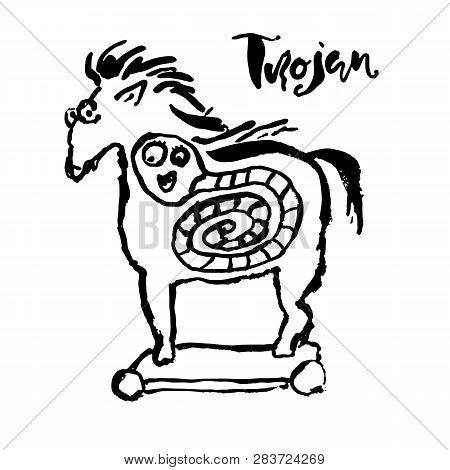 Trojan horse with worm inside. Computer virus symbol. Grunge dry brush vector illustration. poster