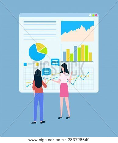 Business Statistics Charts Vector, Female Entrepreneurs. Diagram And Graphics, Women Discussing Star