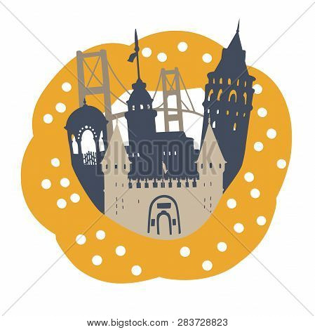Creative Vector Illustration Istanbul. Famous Turkish Landmarks In A Frame Of A Sesame Bagel Simit.