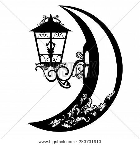 Streetlight Lamp And Crescent Moon - Night Time In The City Black Vector Symbol