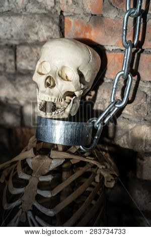 Skeleton chained to a pipe, torture, kidnap, haunted house etc concept. poster