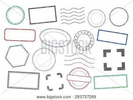 Vector Illustration Of Different Shapes Of Stamps Frames