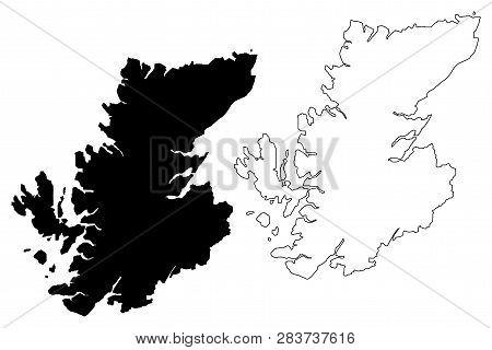 Highland (united Kingdom, Scotland, Local Government In Scotland) Map Vector Illustration, Scribble