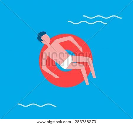 Man floating on water in lifeline. Person male relaxing and swims in swimming pool using lifebuoy. Relaxation recreating holiday summertime vector poster