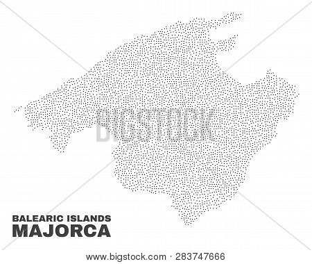 Majorca Map Designed With Little Points. Vector Abstraction In Black Color Is Isolated On A White Ba