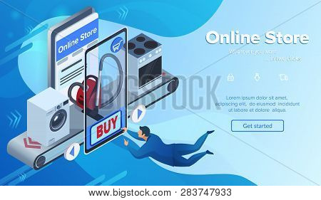 Buying Vacuum Cleaner. Online Store In Smartphone. Small Man Clicks Buy Button. Customer On Landing