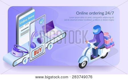 Online Ordering 24 For 7. Courier Delivers Order By Motorbike. Boxes From Virtual Electronic Store.