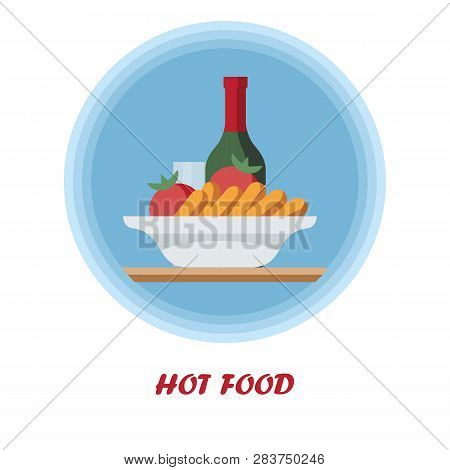 First Course Flat Vector Illustration. Hot Food With Alcohol Drink. Catering Serving. Dinner, Supper