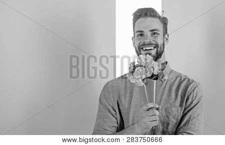 This Is For You Boyfriend Happy Holds Bouquet Flowers. Man Ready For Romantic Date Bring Bouquet Pin