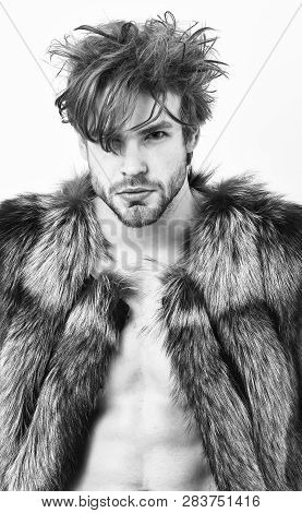 Fashion And Pathos. Richness And Luxury Lifestyle. Sexy Sleepy Rich Macho Tousled Hair Fur Vest On W