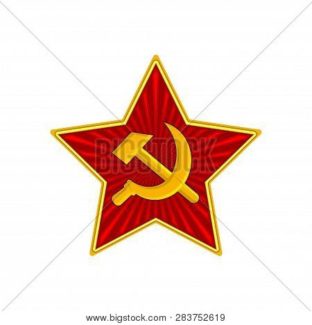 Badge Of Soviet Union Red Star With Hammer And Sickle. Symbol Of The Ussr Army. Vector Illustration.