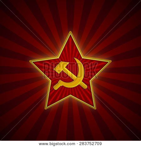 Soviet Union Red Star With Hammer And Sickle. Symbol Of The Ussr Army. Background Template For Febru