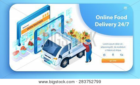 24 7 Online Food Delivery Service. Man Loading Truck With Groceries. Supermarket In Tablet. Fast Shi