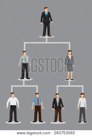 Vector Illustration Of Cartoon Business People Characters On Company Organizational Hierarchical Cha