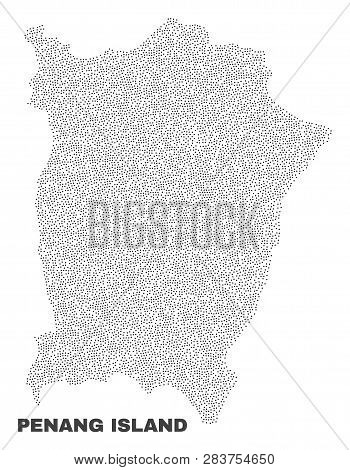 Penang Island Map Designed With Little Points. Vector Abstraction In Black Color Is Isolated On A Wh