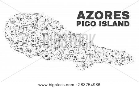 Pico Island Map Designed With Little Points. Vector Abstraction In Black Color Is Isolated On A Whit