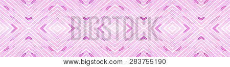 Pink red Seamless Border Scroll. Geometric Watercolor Frame. Amusing Seamless Pattern. Medallion Repeated Tile. Actual Chevron Ribbon Ornament. poster