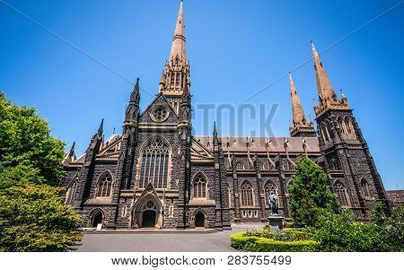 Side View Of St Patrick's Cathedral And Spire A Roman Catholic Cathedral Church In Melbourne Vic Aus