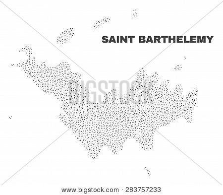 Saint Barthelemy Map Designed With Little Points. Vector Abstraction In Black Color Is Isolated On A