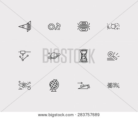 Physical Icons Set. Optical Physics And Physical Icons With Experiments In Physics, Laser Device And