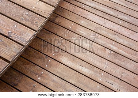 Wooden Deck Made From New Boards With One Step