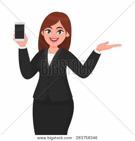 Portrait Of Joyful Businesswoman Showing Blank Screen Mobile, Cell Or Smart Phone & Gesturing Hand T