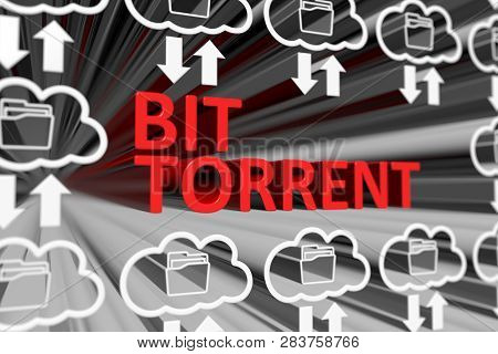 Bit Torrent Concept Blurred Background 3d Render Illustration
