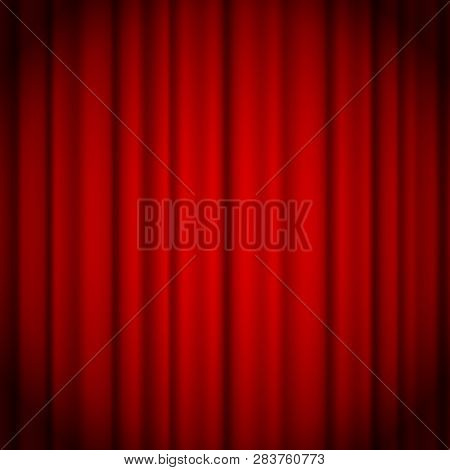 Red Curtains Background Illuminated By A Beam Of Spotlight. Red Theater Show Curtain Vector Illustra