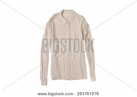 Fashionable Concept. Delicate Beige Blouse Flat Lay. Isolate On White Background