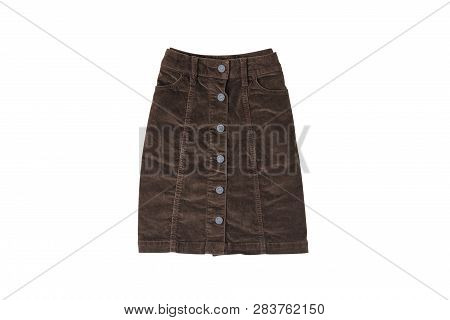 Brown Skirt Flat Lay. Fashion Concept. Isolate On White Background