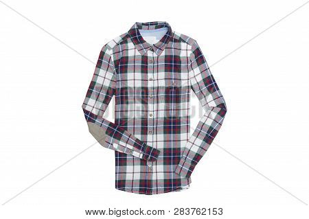 Checkered Shirt Isolate On White Background. Fashionable Concept.